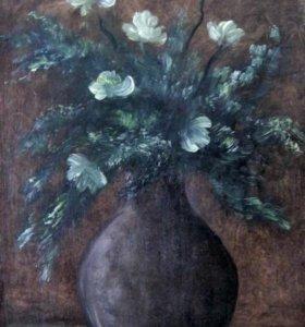 """Картина маслом """"Цветы в бабушкиной вазе"""""""
