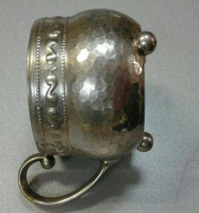 Подстаканник латунный с покрытием из белого металл
