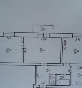 Квартира, 3 комнаты, 59.8 м²