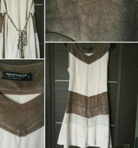 Платье из ткани под замшу