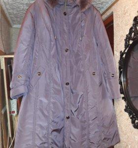 Женский пальто-пуховик зимний большого размера