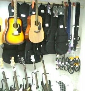 Аксессуары для гитар, шнуры чехлы струны медиаторы