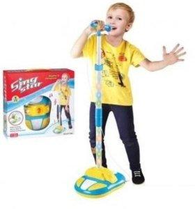Детский микрофон на стойке, свет, № HT178A