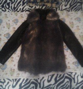 Меховая жилетка + кожаная куртка