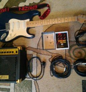 Эл. гитара Ernail + комбик + шнуры + педаль