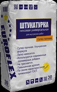 """Штукатурка Гипсовая """"Премиум"""" Белая 30 кг EUROFLEX"""