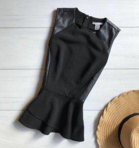 Блуза с кожаными вставками