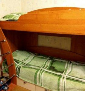 Кровать, шкаф, письменный стол, тумба шкаф, полки