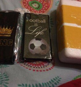 Sony z1 чехол (King)+чехол (football)+стекло защит