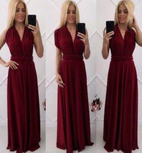 Платье-трансформер цвета марсала