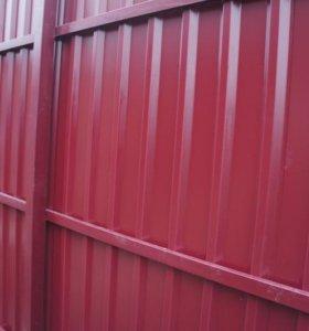 Забор из профлиста С8 0,5 мм 4 лаги RAL 3014