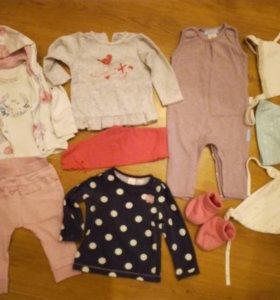 Пакет вещей на девочку, размер 6 месяцев