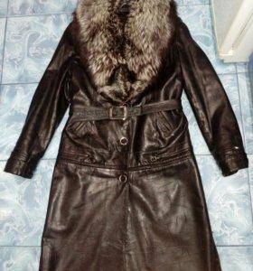 Пальто кожанное зимнее