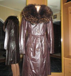 Натуральное кожаное пальто-дублёнка