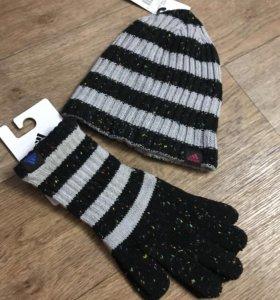 Новая шапка и перчатки Adidas оригинал