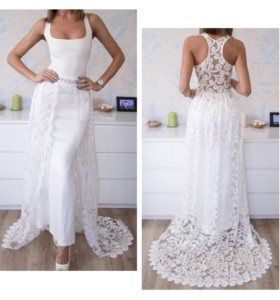 Шикарное платье с шлейфом, размер 40-42