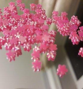 Цветы жемчужно розовые 4 мм стразы
