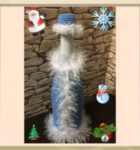 Чехол на бутылку шампанского Снегурочка
