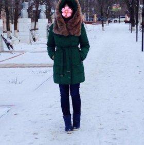 Зимний пуховик с натуральным мехом шиншиллы