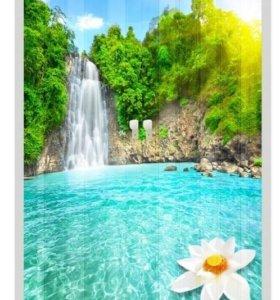 Дверь гармошка, с фотопечатью, Водопад и цветок