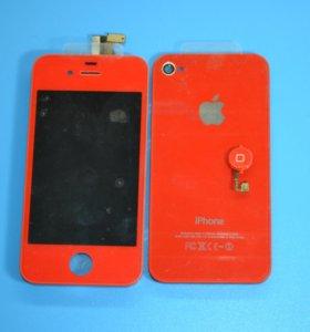 Дисплей+Крышка+Кнопка Home красные iPhone 4s