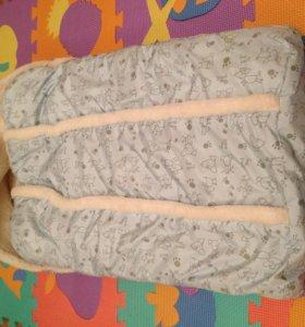 Зимний конверт в коляску на овчине