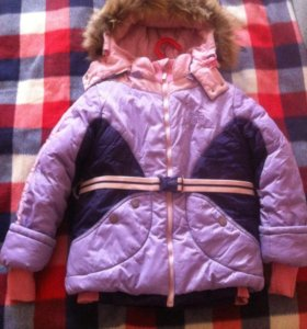 Куртка зимняя для девочки с безрукавкой. (110-116)