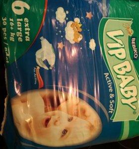 Подгузники Vip baby размер 6-ть, (16кг +), 30шт
