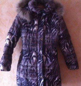 Пальто зимнее для девочки. (134-140)