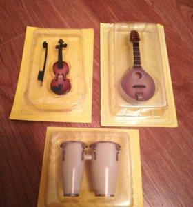 Игрушки Барабаны, гитара, скрипка новые