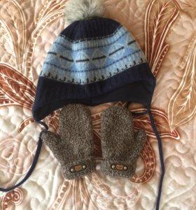 Шерстяная шапка 48 размер и варежки