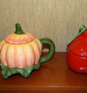Сахарница керамика+чайник(подарок)