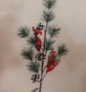 Искусственные новогодние веточки 60 см