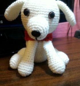 вязаная собачка игрушка