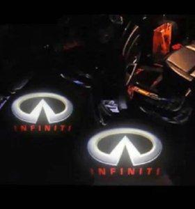 Логотип проэкция в двери infiniti FX QX