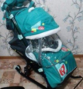 """Санки-коляска """"Ника детям 7-2"""" Коллаж-Лисичка 2017"""