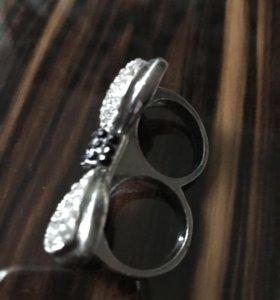 Бижутерия кольцо двойное