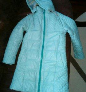Кожаное детское пальто демисезонное