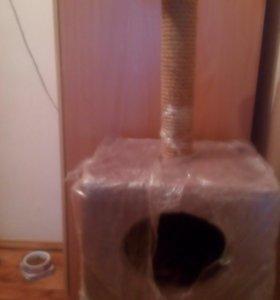 Домик-куб с полкой и когтеточкой