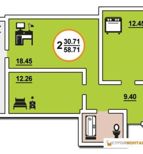 Квартира, 2 комнаты, 58.7 м²