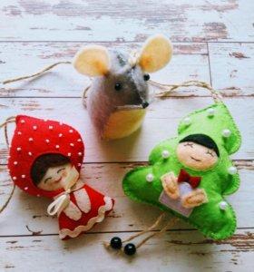 Набор ёлочных игрушек из фетра