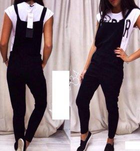 Комбинезон черный женский брюки на бретелях