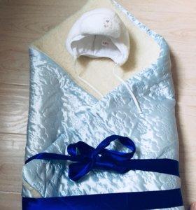 Одеяло в коляску (на выписку)+шапка