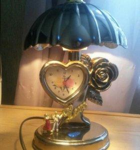 Светильник ночник с часами с будильником