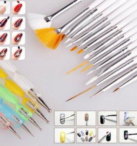 Набор кистей и дотсов для дизайна ногтей 20 штук