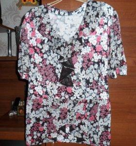 блузка с волнистым воротом и по низу