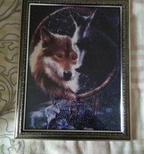"""Алмазная вышивка """"Пара волков в ловеце снов"""""""