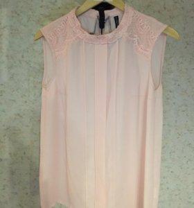 Блуза без рукавов розовая