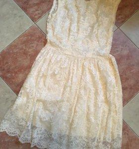 платье из итальянского кружева 'золотой песок'