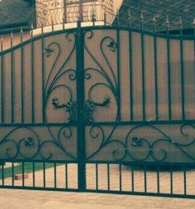 Ворота с ковкой.